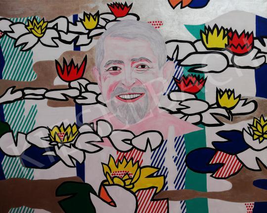 drMáriás - Dr. Kásler Miklós  tavirózsák között Roy Lichtenstein műtermében, 2020 festménye