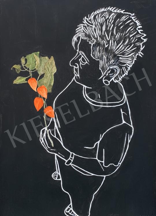 Fehér László - Edit virággal festménye