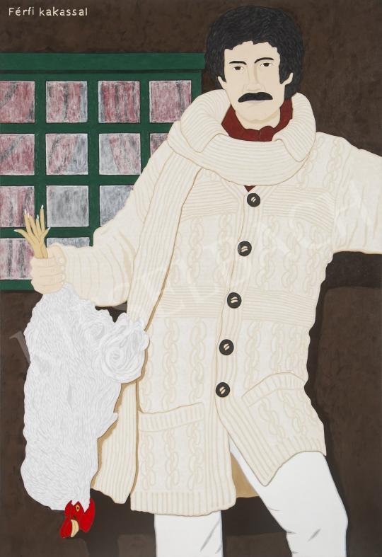 Hecker Péter - Férfi kakassal, 2015 festménye