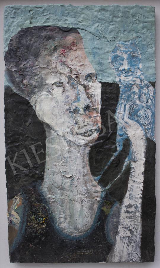 Király Gábor - Portré bagollyal, 2020 festménye