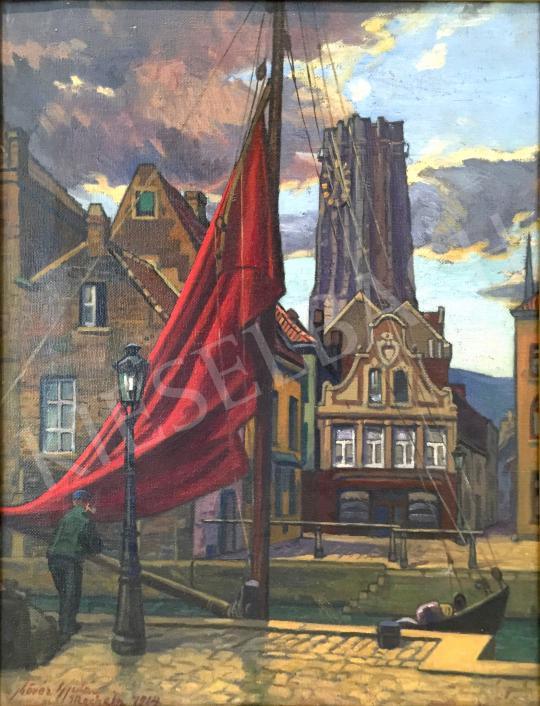 Eladó  Kövér Gyula - Pihenő a kikötőben, 1914 festménye