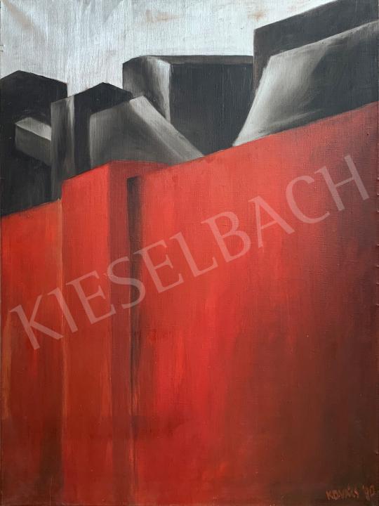Ferenczfy Kovács Attila - Vörös kerítés, 1990 festménye