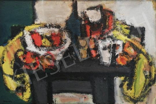 Eladó Konfár Gyula - Asztali csendélet gyümölcsökkel festménye