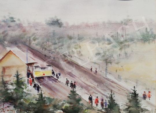 Eladó Diósy Antal - A János-hegyi libegő végállomása festménye