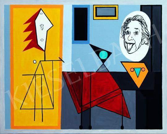 drMáriás - Einstein és felesége nyelvet öltögetnek Picasso műtermében, 2019 festménye