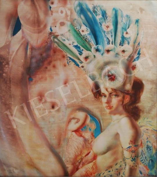 Eladó  Korga György - Tollak és vágyak, (Érzékiség), 1991 festménye