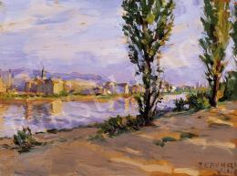Ferenczy Valér - Napsütötte folyópart háttérben házakkal