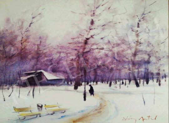 For sale Diósy, Antal (Dióssy Antal) - Winter Park Scene (Dusk Lights) 's painting
