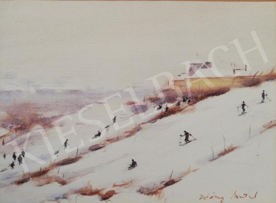 Eladó Diósy Antal - Síelés a budai hegyekben festménye