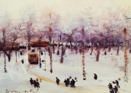 For sale Diósy, Antal (Dióssy Antal) - City Park - Snow Workers 's painting