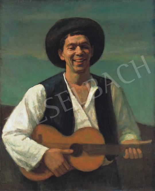 For sale  Czigány, Dezső - Self-Portrait with Guitar 's painting