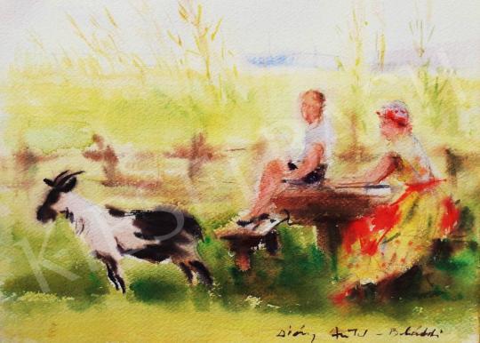 Eladó Diósy Antal - Piknik a szabadban festménye