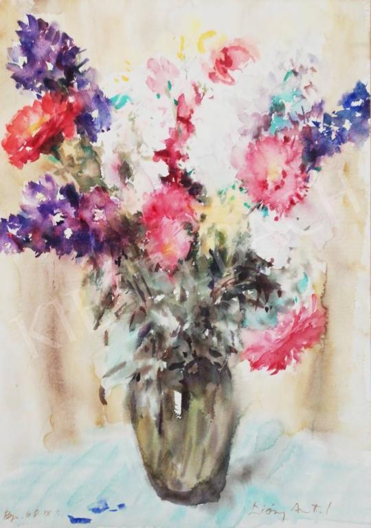 Eladó Diósy Antal - Színes virágcsendélet tavaszi virágokkal, 1968 festménye