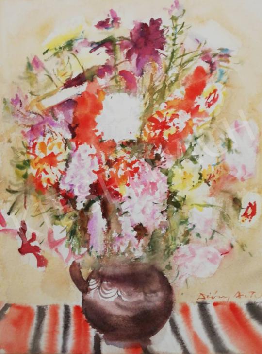 Eladó Diósy Antal - Virágcsendélet csíkos terítővel festménye