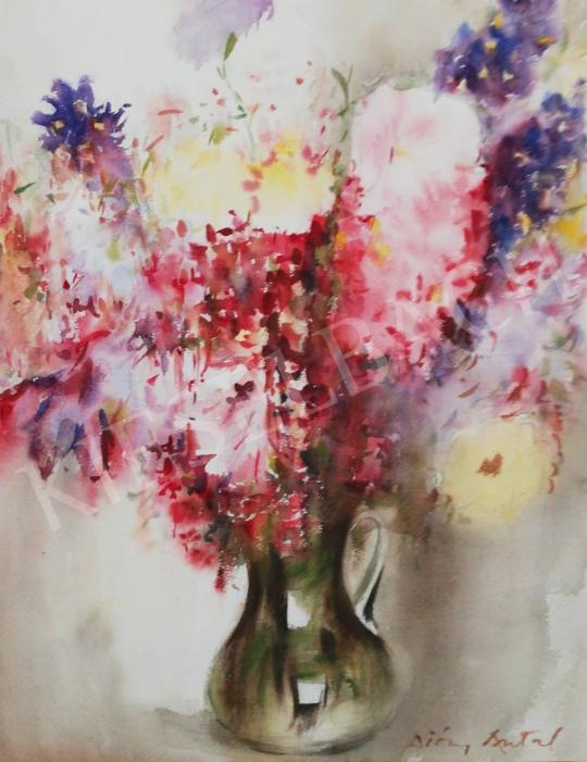 Eladó Diósy Antal - Virágcsendélet jácinttal és írisszel festménye