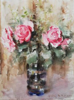 Diósy, Antal (Dióssy Antal) - Still Life with Roses, 1966