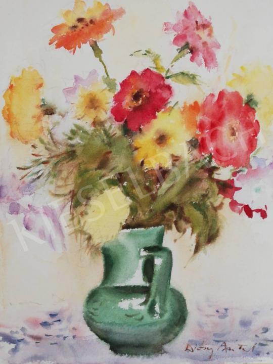 For sale Diósy, Antal (Dióssy Antal) - Festive Flower Still Life in Green Vase 's painting