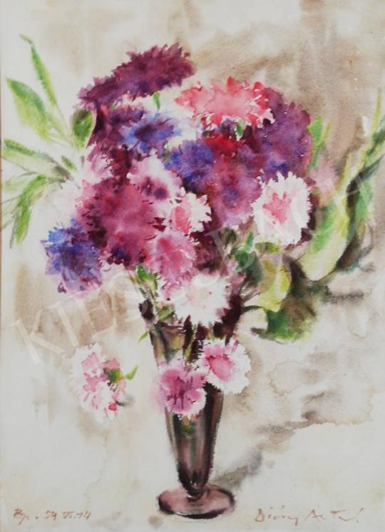 For sale Diósy, Antal (Dióssy Antal) - Flower Still Life with colorful Carnations 's painting