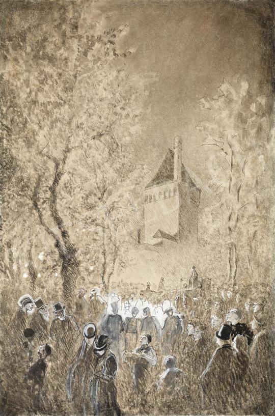 Eladó  Mednyánszky László - Este a városfal alatt, 1880-as évek festménye