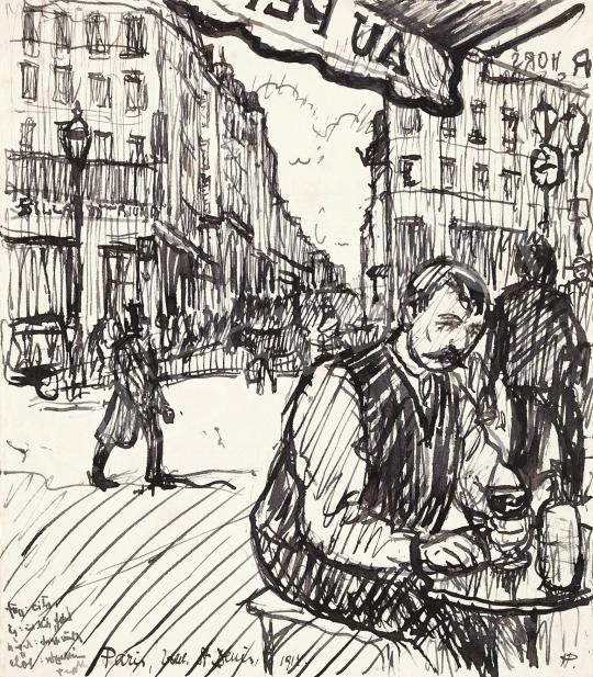Eladó Huzella Pál - Kávéházban a Saint-Denis Boulevard-on, 1914 festménye