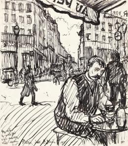 Huzella Pál - Kávéházban a Saint-Denis Boulevard-on, 1914
