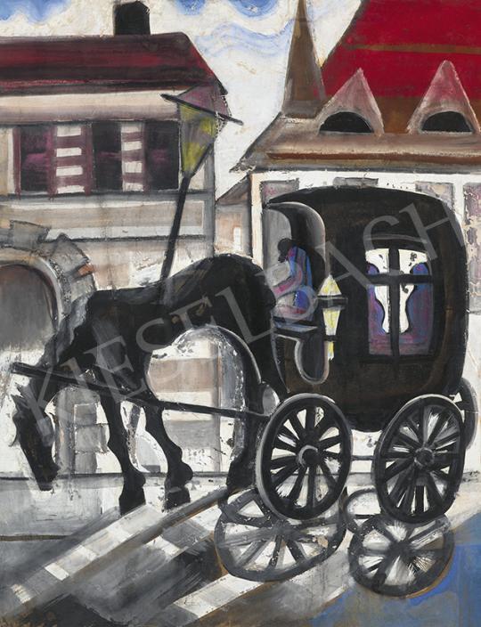 Eladó  Scheiber Hugó - Város gázlámpával, konflissal, 1930 festménye