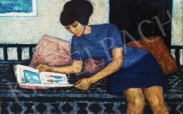 Czene, Béla jr. - Erzsi is reading (Lady in Blue Dress)