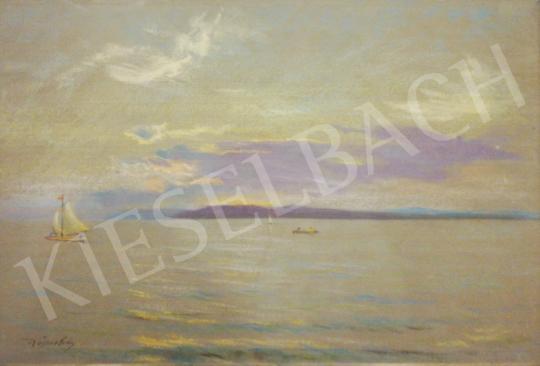 Eladó Wágner Géza - Alkonyati balatoni látkép vitorlással festménye
