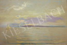Wágner, Géza -  Twilight View of Lake Balaton with Sailboat