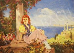 Illencz Lipót - Fiatal lány mediterrán háttér előtt