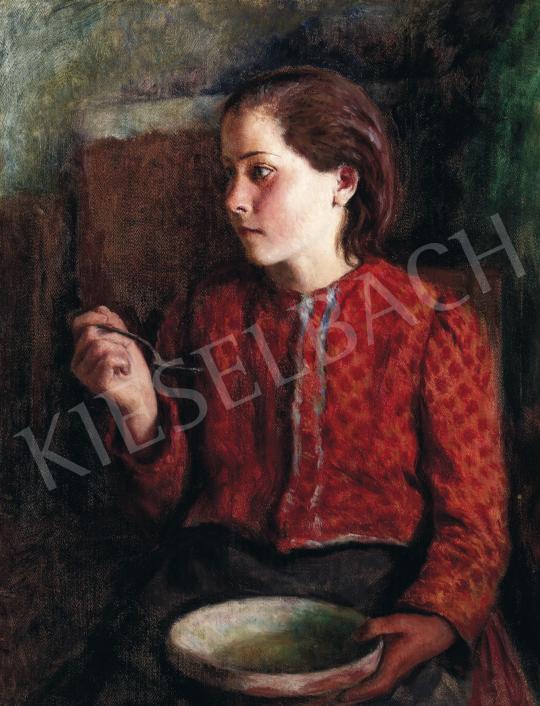 Eladó  Glatz Oszkár - Kislány piros ruhában, 1944 festménye