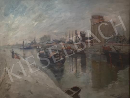 Eladó  Kássa Gábor - Budapest, a csepeli szabadkikötő , 1953 festménye