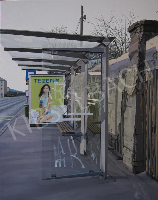 Eladó  Szabó Ábel - Buszmegálló, 2014 festménye