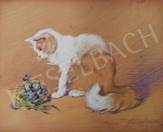 Eladó Rainerné Istvánffy Gabriella - Ibolyát szimatoló angóra cica festménye