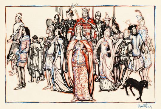 Eladó  Batthyány Gyula - Nagy Lajos király (1326-1382) udvara festménye