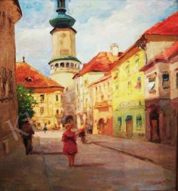 Bojtor Károly - Sopron látképe a Tűztoronnyal