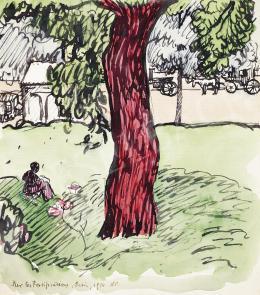 Huzella Pál - Párizsi parkban, 1914
