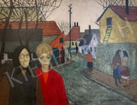 Eladó  Czene Béla - Falusi jelenet járókelőkkel festménye