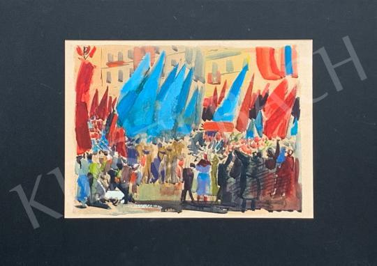 Eladó  Hincz Gyula - Felvonulás zászlókkal festménye