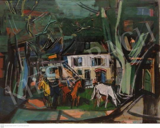 Eladó Bótos Sándor - Vidéki jelenet lovasokkal, 1964 festménye