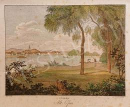 Kunike, Adolph Friedrich - View from the North-Western part of Margaret Island to the Reformed Church  and the Synagogue