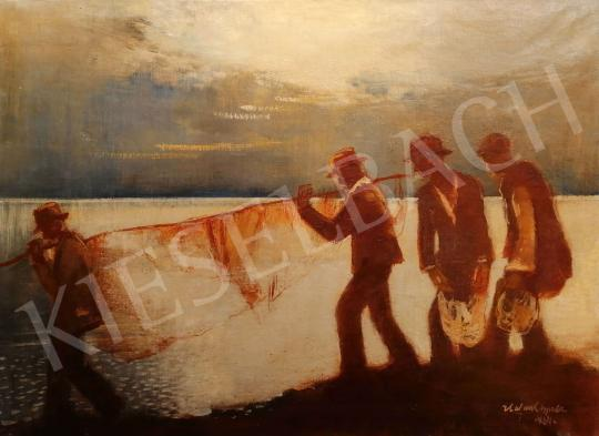 For sale Halvax, Gyula -  Night Fishing (Balaton with Reflex Lights), 1934 's painting