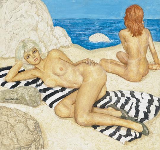 Czene Béla - Napozó lányok a tengerparton (Adria), 1987 | 64. Őszi Aukció aukció / 1 tétel