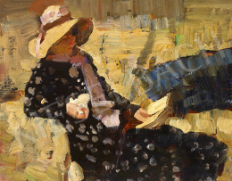 Ismeretlen magyar festő, 1920 körül - Olvasó lány pöttyös ruhában, 1920 körül
