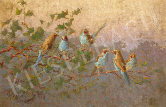 Madarász Gyula - Nyári reggel (Pirosfülű pillangópintyek a fán), 1915 | 64. Őszi Aukció aukció / 14 tétel