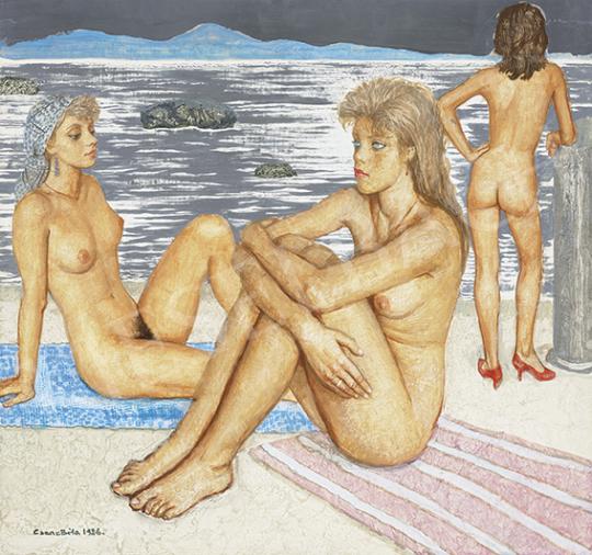 Czene Béla - Aktok a görög tengerparton, 1986 | 64. Őszi Aukció aukció / 23 tétel