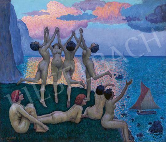 Csejtei Joachim Ferenc - Nyári este (Szirének, Odüsszeusz, vitorlások), 1913   64. Őszi Aukció aukció / 34 tétel