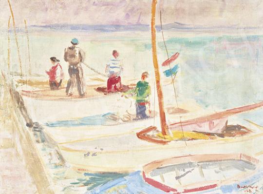 Bakky Sándor - Vitorlások (Balatonfüredi kikötő), 1958   64. Őszi Aukció aukció / 41 tétel