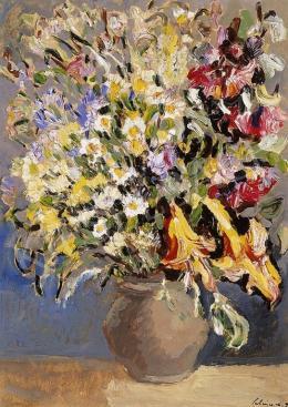 Schéner Mihály - Virágcsendélet sárga liliomokkal