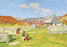 Glatz Oszkár - Hegyi tanya (Erdély határán, Tanya a Törcsvári szorosban), 1906 körül